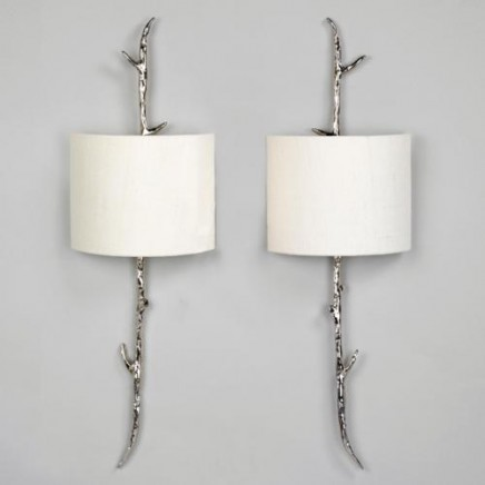 """Amiens Wall Light. Nickel, Left & Right Shown with 9"""" Ivory Linen Crescent Lampshades"""