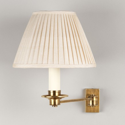 """Brass. Shown with 7"""" Empire Gardenia Knife Pleated Linen Shade.  Lampshade sold separately."""
