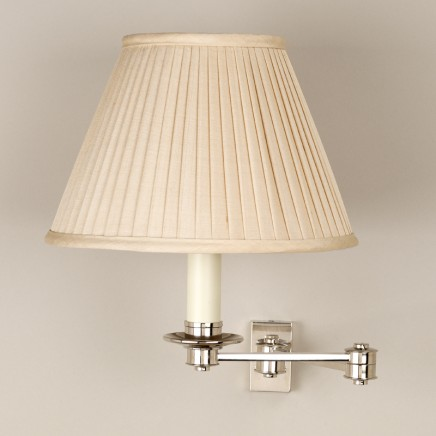 """Nickel.  Shown with 7"""" Empire Slubby Beige Knife Pleated Silk Shade.  Lampshade sold separately."""