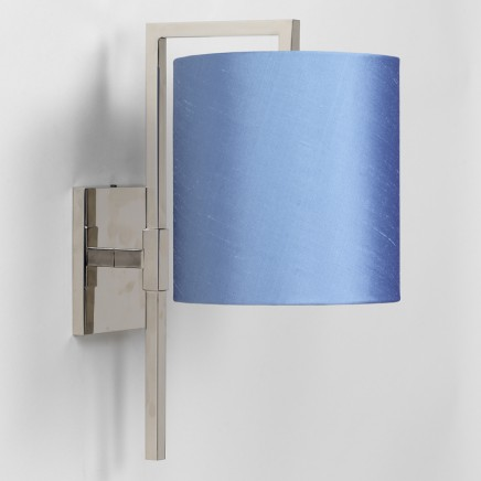 """Nickel. Shown with 7"""" Cylinder Blue Silk Lampshade.  Lampshade sold separately."""