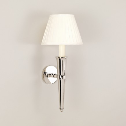 "Arras Cone Wall Light.  Nickel Shown with 7"" Empire White Card Lampshade sold separately."