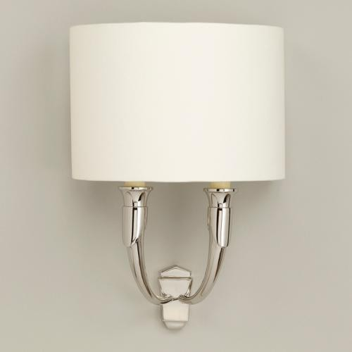 French horn wall light products french horn wall light french horn standard nickel shown with 11 crescent lily linen lampshade aloadofball Choice Image