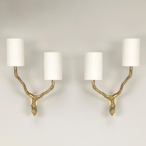 Twig wall lights twin arm products twig wall light standard brass shown with 4 long half white card aloadofball Image collections