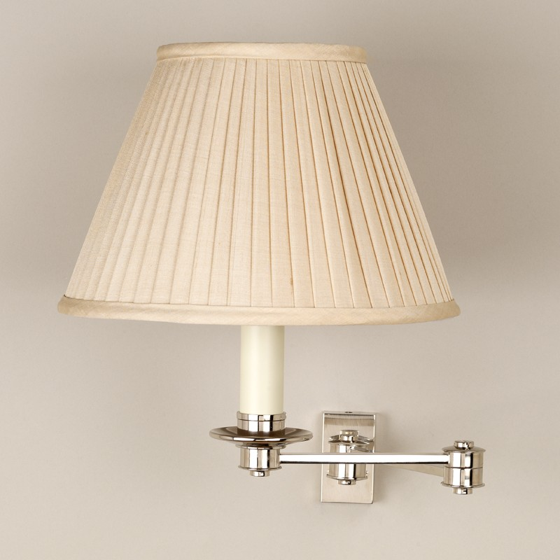 Library swing arm wall light 2 arm products nickel shown with 7 empire slubby beige knife pleated silk shade lampshade sold separately aloadofball Image collections