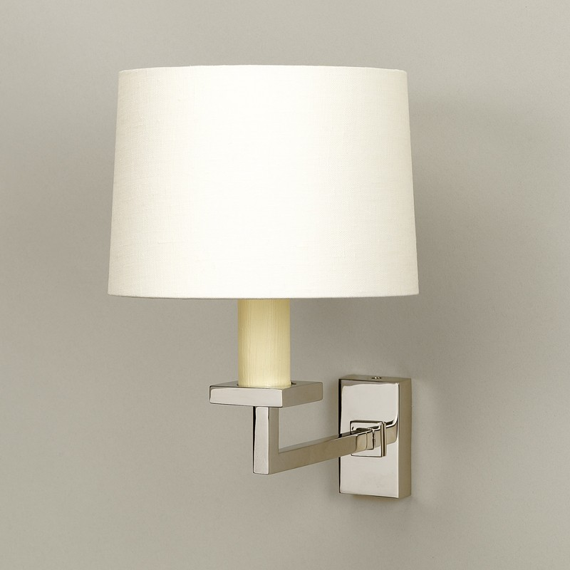 Fixed library wall light products nickel photographed with 6 warwick drum lampshade in lily linen lampshade sold separately aloadofball Choice Image