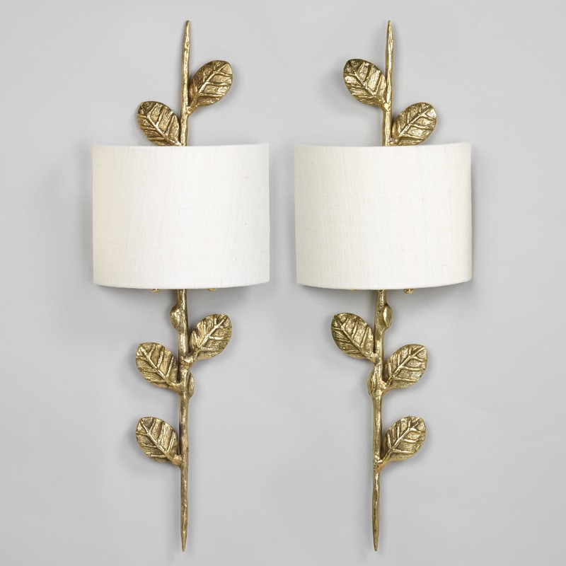 Leaf wall light products leaf wall light brass photographed with 9 crescent ivory linen lampshade lampshade sold separately aloadofball Choice Image