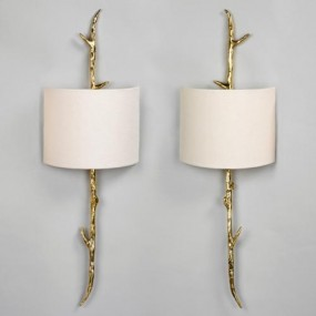 "Amiens Wall Light. Brass, Left & Right Shown with 9"" Crescent Natural Linen Lampshades"