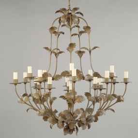 Compiegne Leaf Chandelier, Distressed Green