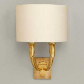 "French Horn, US, Brass, shown with 11"" Crescent Gardenia Linen Lampshade.  Lampshade  sold separately."