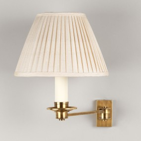 "Brass. Shown with 7"" Empire Gardenia Knife Pleated Linen Shade.  Lampshade sold separately."