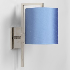 "Nickel. Shown with 7"" Cylinder Blue Silk Lampshade.  Lampshade sold separately."