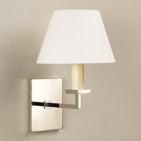 "Norfolk Wall Light Nickel.  Photographed with 7"" Empire Lily Linen Lampshade.  Lampshade sold separately."