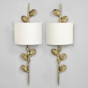 """Leaf Wall Light, Brass. Photographed with 9"""" Crescent Ivory Linen Lampshade.  Lampshade  sold separately."""