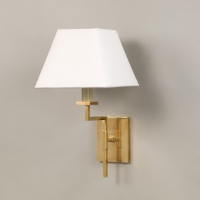 "Brass.  Shown with 7"" Tapered Square in Lily Card Lampshade.  Lampshade sold separately."