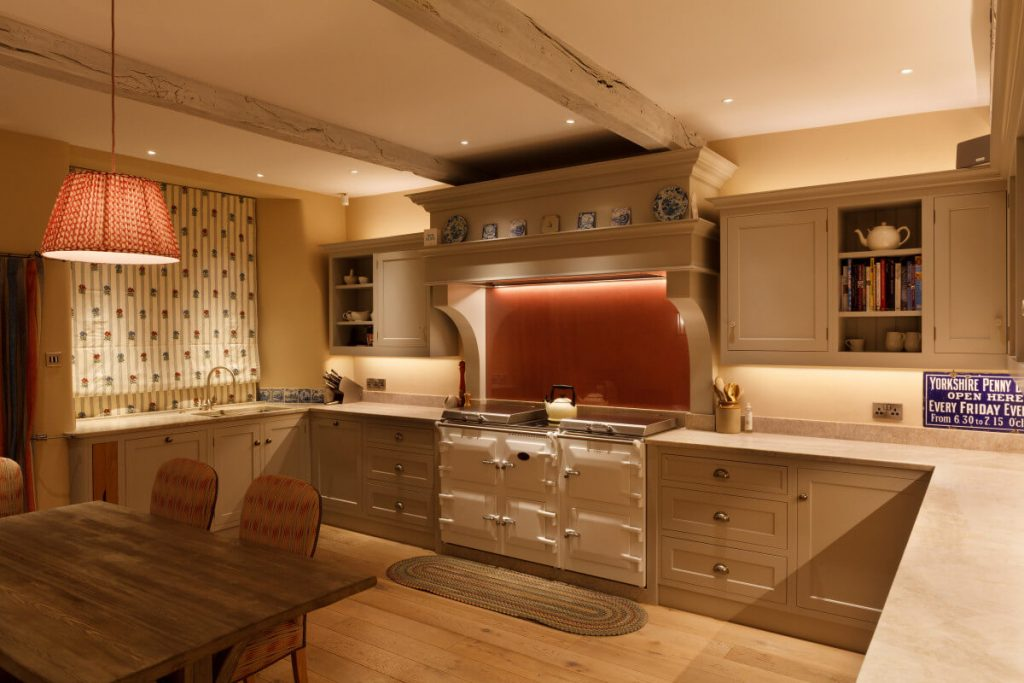 Soft lighting in a lovely Yorkshire country house kitchen