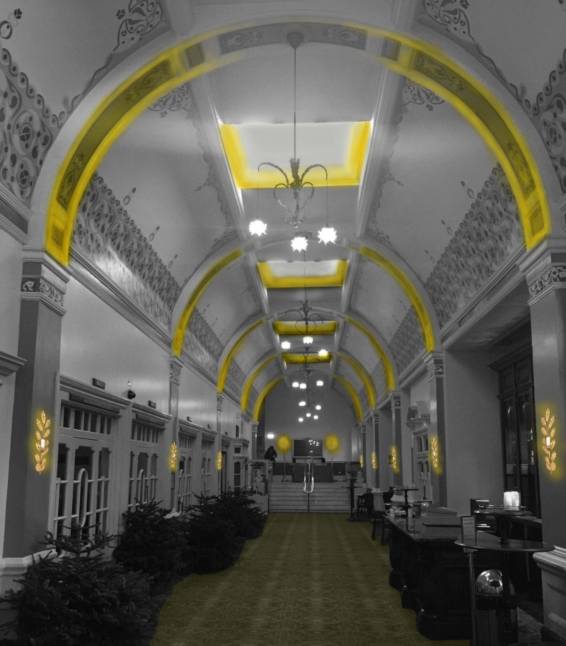 Glow Diagram - early concept for the ambulatory in The Royal Hall, Harrogate