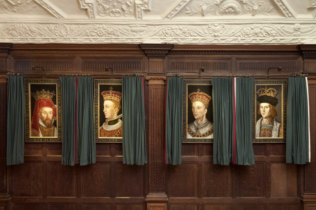 Hever Castle Long Gallery with four portraits of Tudor Monarchs