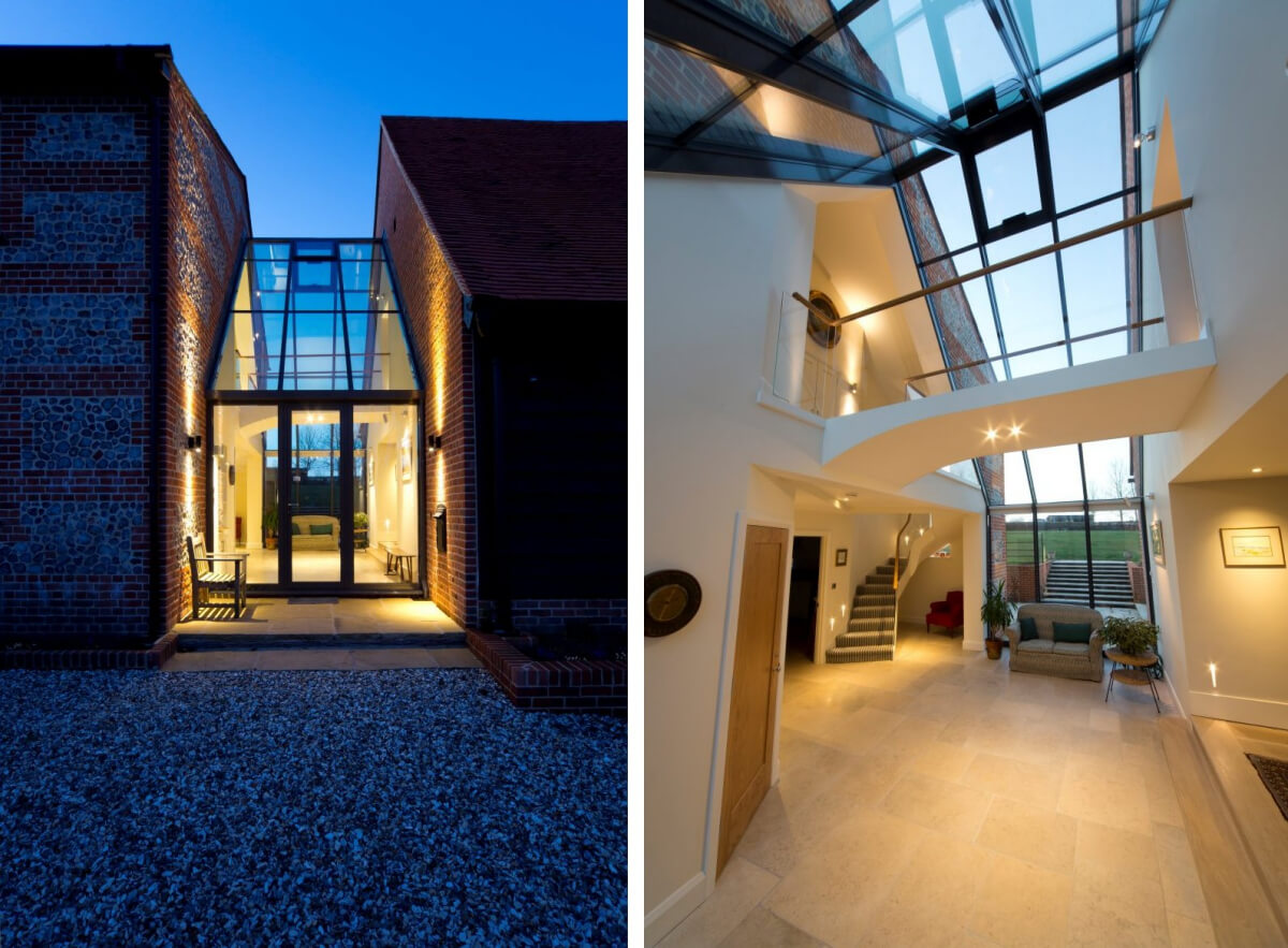 Lighting inside and out of the glazed link in the Hampshire barn