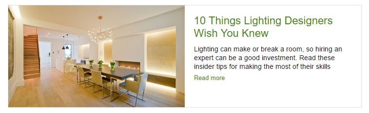 Screenshot of Houzz article on what lighting designers wish you knew