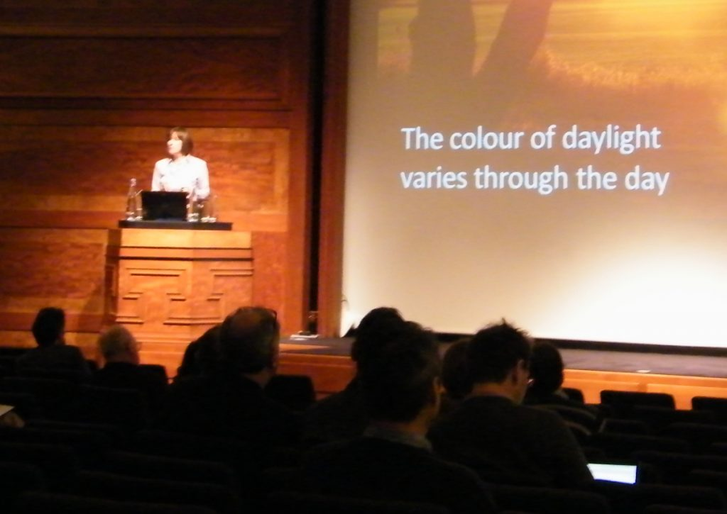 Melanie delivering lighting CPD at RIBA, London 2015