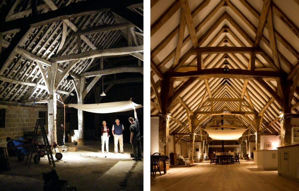 Side by side picure of early barn lighting concept testing alongside the finished result