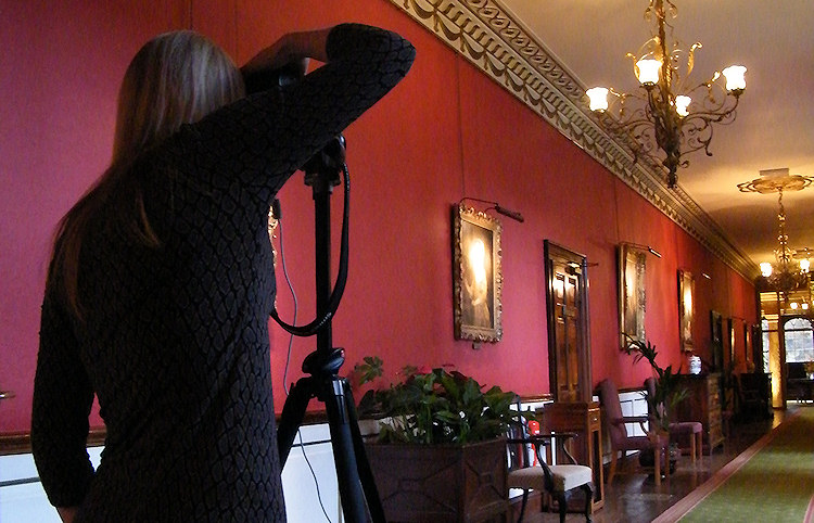Charlotte Gale photographing at Swinton Park Hotel