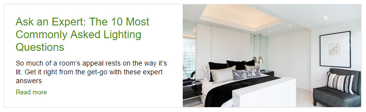 "Introduction to Houzz article on ""10 most commonly asked lighting questions"""