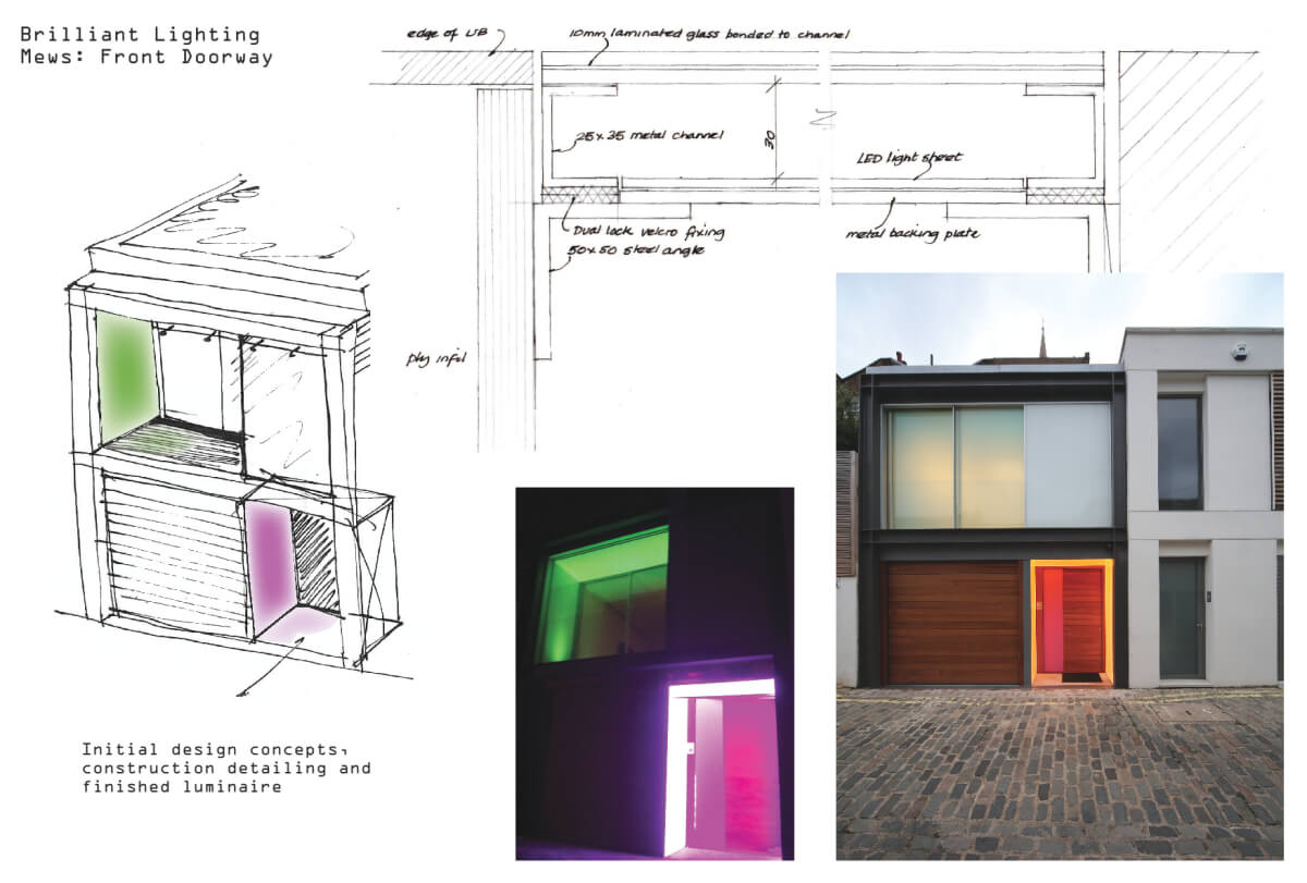 Architectural lighting for a contemporary mews house frontage - design concepts and finished results