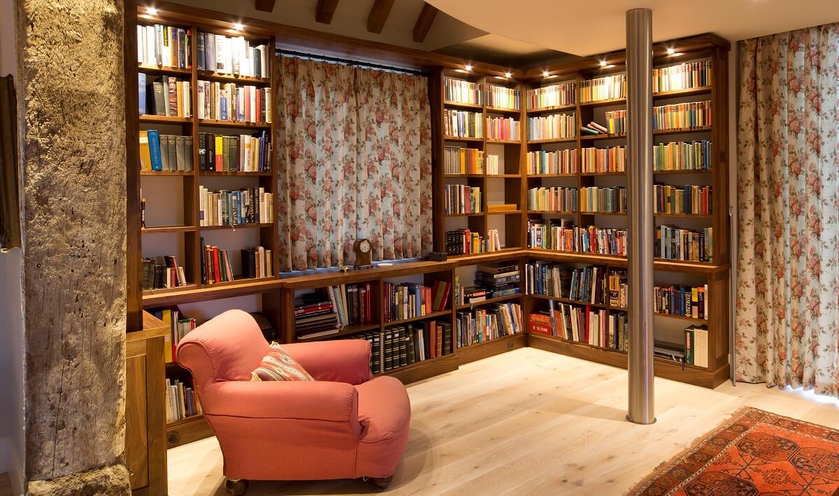 Library lighting integrated into bookshelves