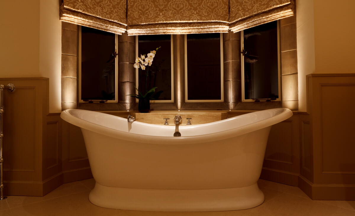 Soft downlighting and accent lighting for an Arts & Crafts bathroom