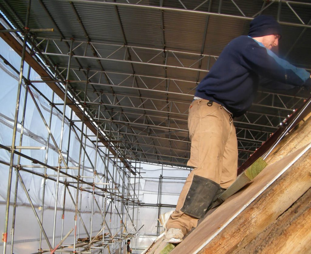 Working on the roof of the Hampshire barn