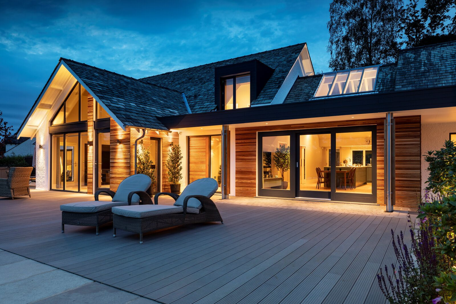 External lighting and decking for a converted Lakeland bungalow