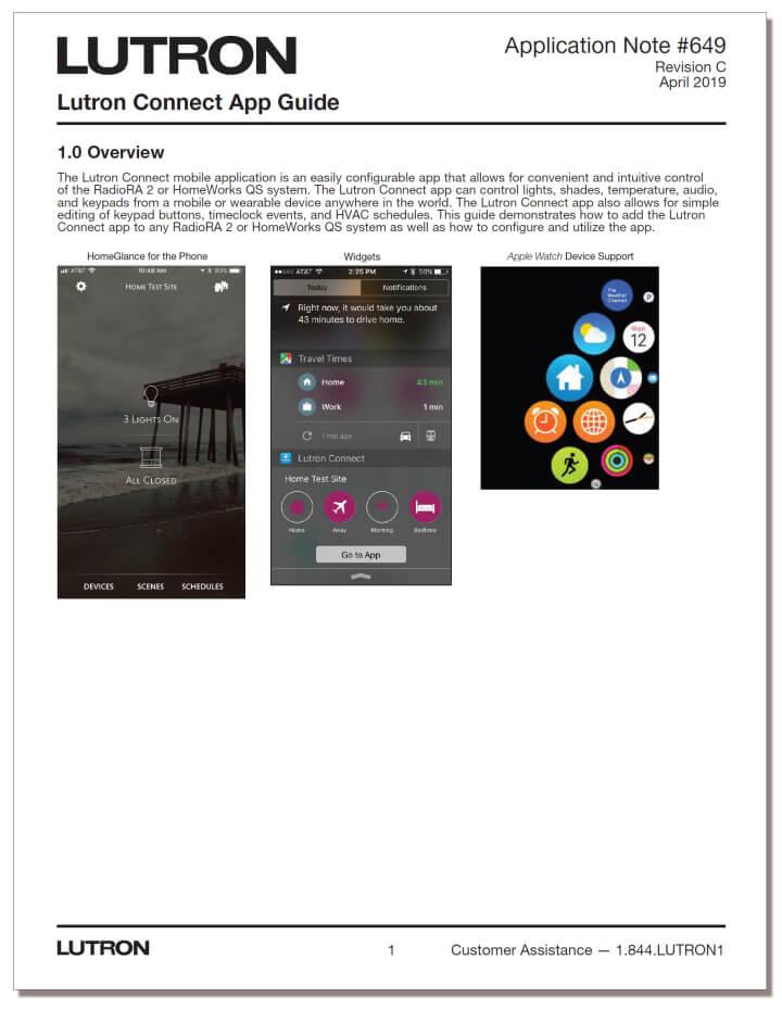 Lutron Connect App Guide - PDF