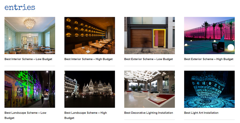Selection of entries and categories in the 2015 darc awards