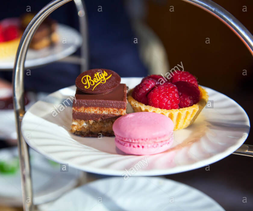 Close up of a cake plate at Bettys York