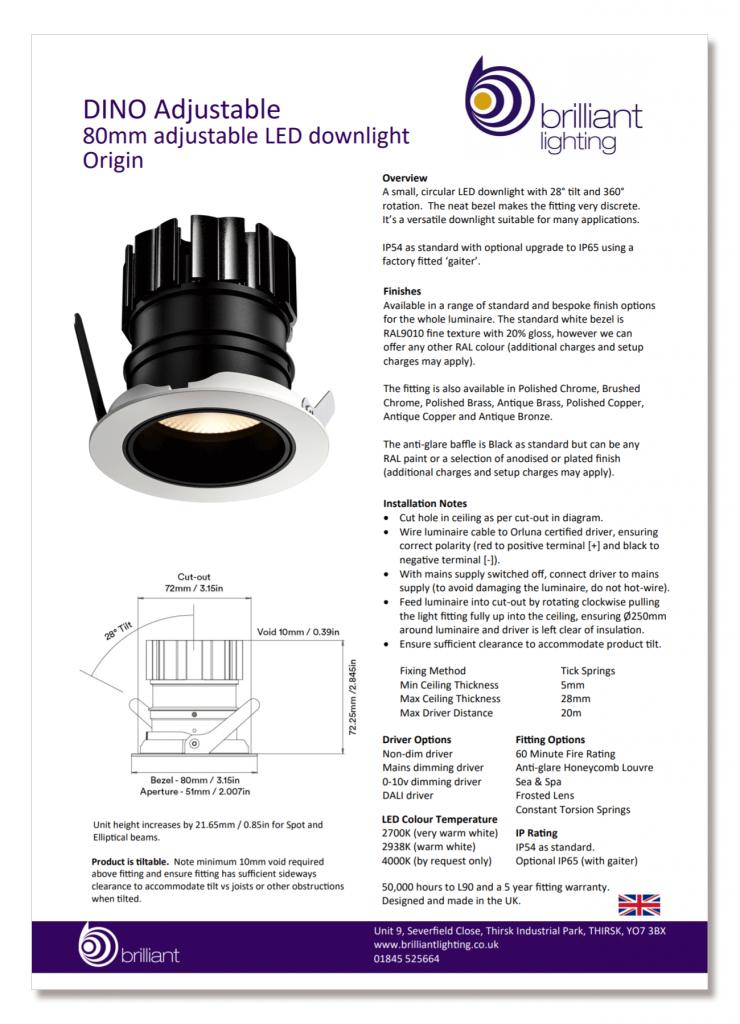 Example of technical datasheet - DINO Adjustable LED downlight
