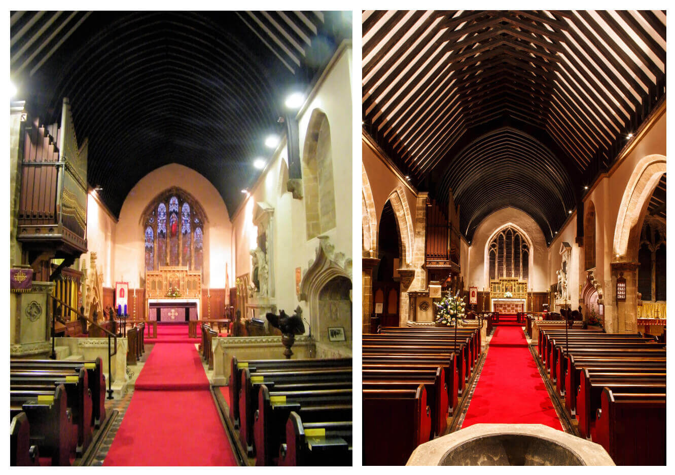 Before and after comparison of the lighting in Goldsborough Church
