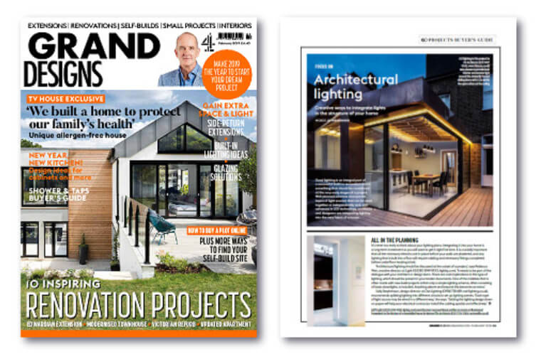 Grand Designs Magazine - February 2019 issue cover and first page of lighting design article