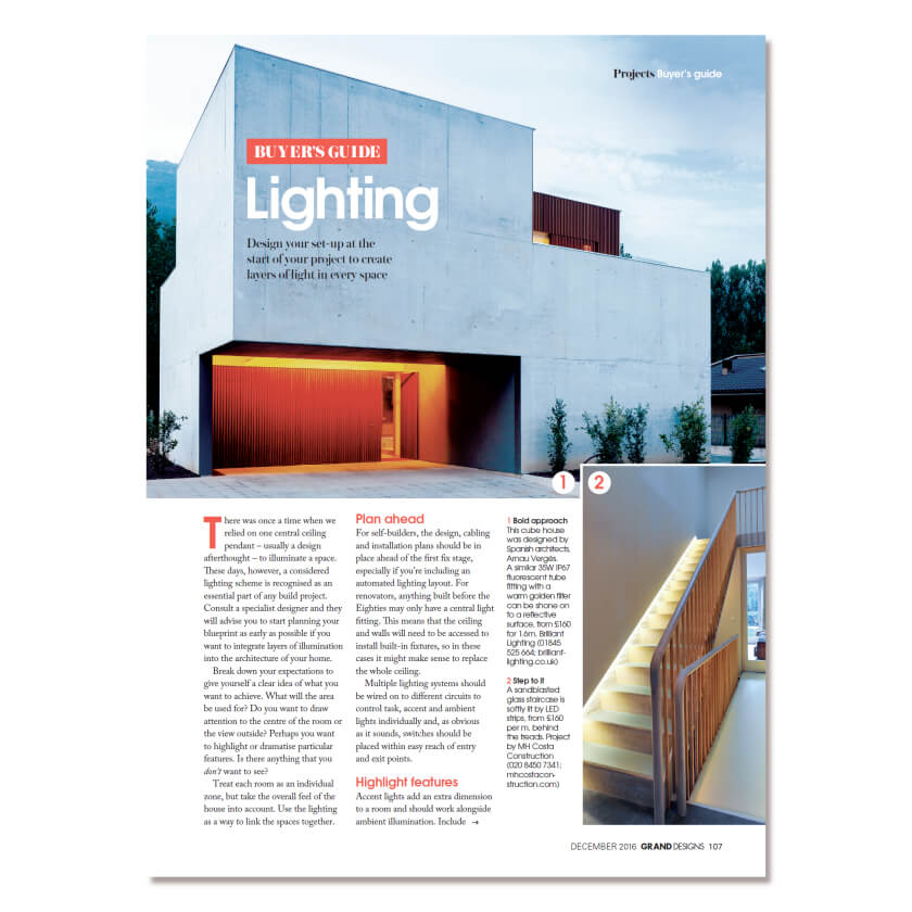 Grand Designs lighting feature front page, December 2016