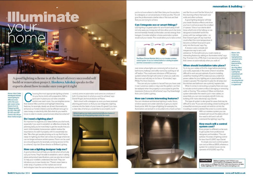 Illuminate your home - a lighting feature in Build It magazine, September 2014