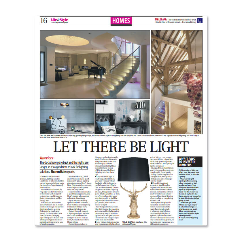 Let There Be Light - an article in The Yorkshire Post