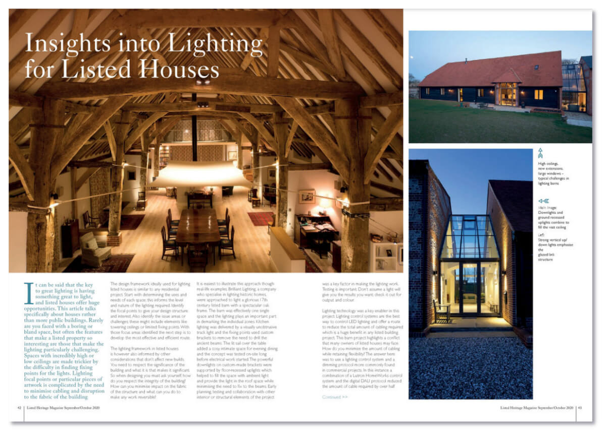 Insights into Lighting for Listed Houses - article in Listed Heritage, September/October 2020