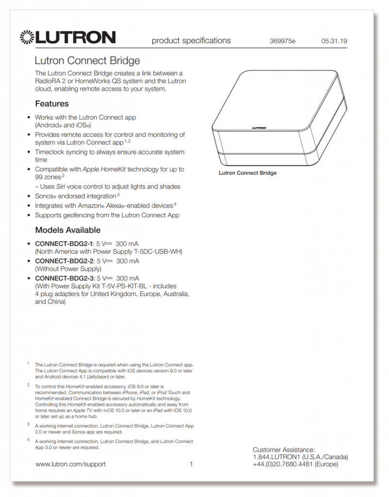 Lutron Connect Bridge - technical specifications