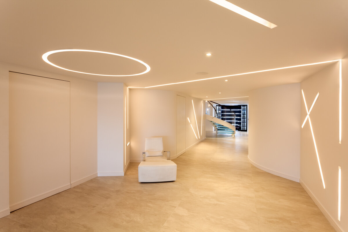 Basement lighting with striking custom profiles featuring LED lighting