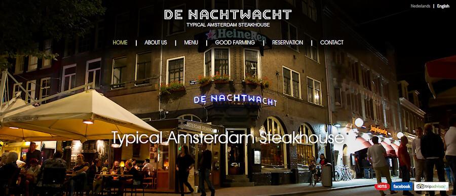 Screenshot of De NachtWacht steakhouse's website