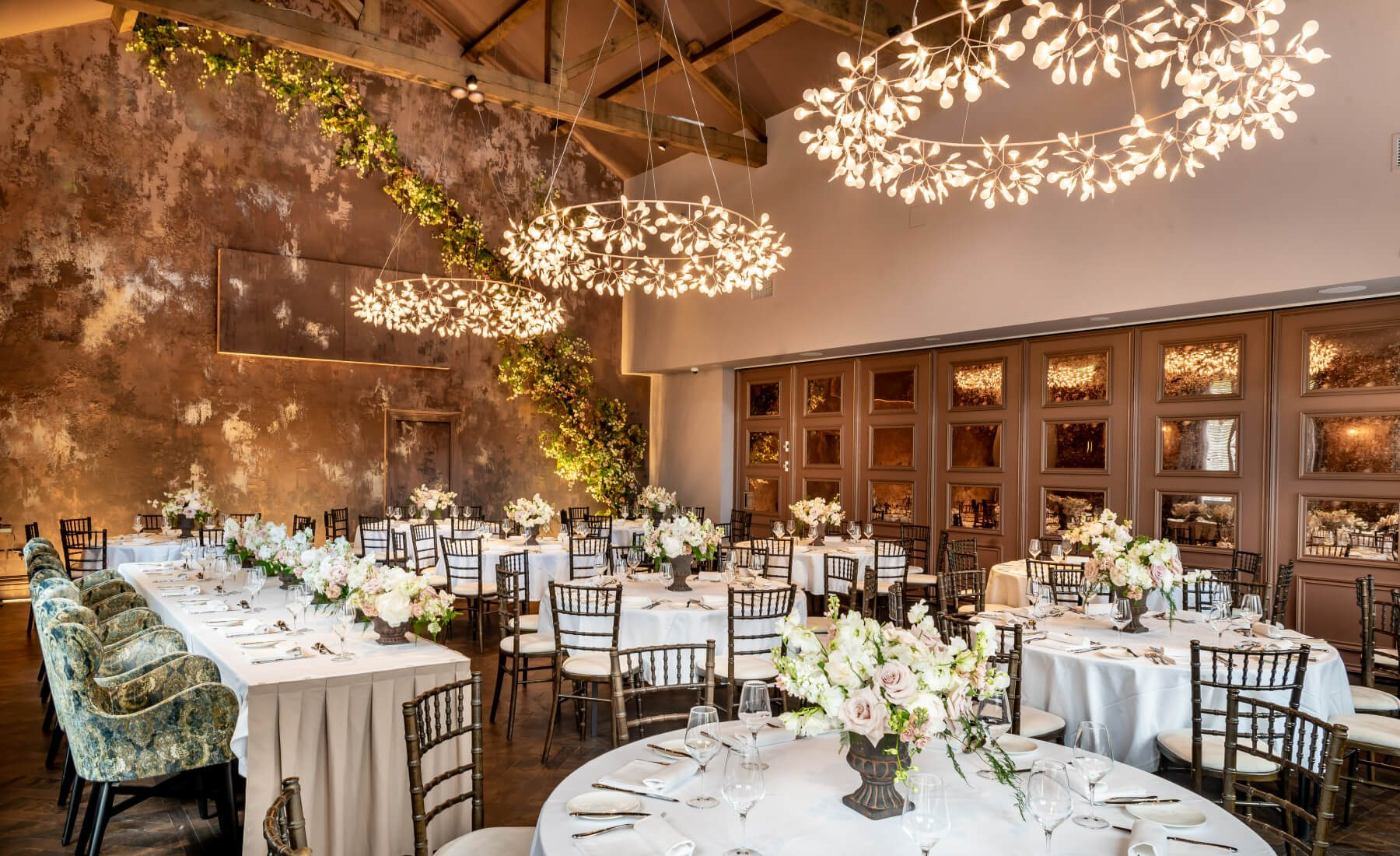 Lighting in the wedding venue at Manor House, Lindley
